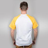Футболка мужская, белая, сэндвич, хлопок и ПЭ, реглан, желтый рукав, 54, XXXL