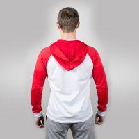 Футболка мужская с красными длинными рукавами и капюшоном — 52 (XXL)