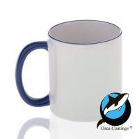 Кружка керамика белая, ободок и ручка синие повышенное качество 330мл
