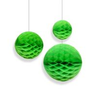 Набор помпонов в виде круга зелёный 3 штуки (h20, h15, h10см)