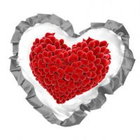 Наволочка для сублимации в форме сердца с серебряными рюшами