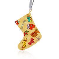 Подвеска-игрушка металл «Рождественский носок» лента в комплекте 110х75