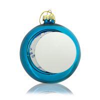 Шар елочный стекло голубой (со вставкой для сублимации D51мм) D80мм
