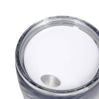 Стакан для воды пластик с текстурой с черной крышкой под полиграф вставку 400 мл