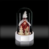 Стеклянные декор-купол с фигуркой Снеговик, домик и ёлка с подсветкой 70x70x120мм
