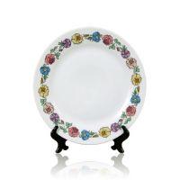 Тарелка для сублимации керамика белая с орнаментом Цветы 200мм